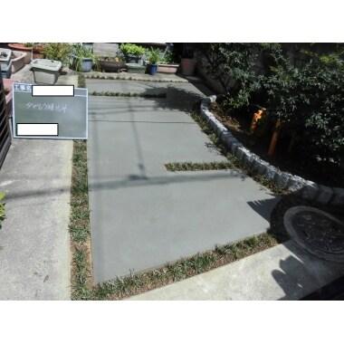 芝からコンクリートのガレージへリフォーム