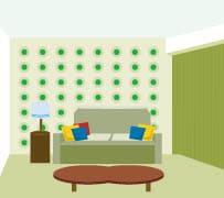 狭いリビングには壁と同系色のカーテン