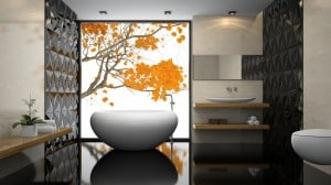 Interior of  stylish bathroom with black floor 3D rendering